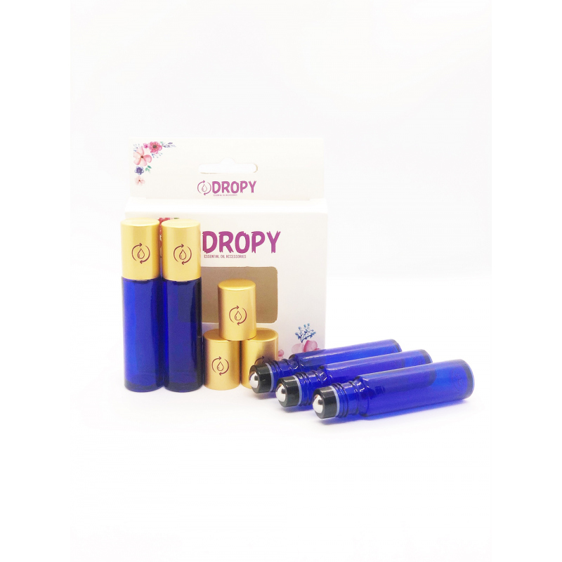 Dropy set 5 recipiente cosmetice sticlute roll on 10 ml DO albastru